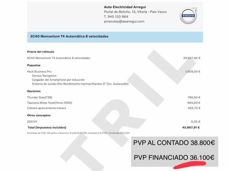 Volvo XC40 GasolinaT4 T4 MOMENTUM AUTO.